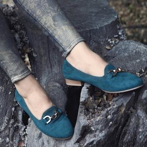 Deep Teal Gold Buckle Toe Flat Loafer